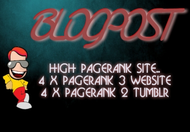 guest POST your articles to 1x Page rank 7 Sites and 1x Page rank 1 tumblr Blog