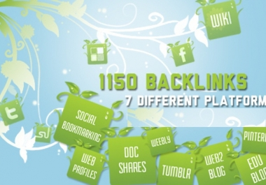 create 1150 SEO Backlink From 7 Platforms