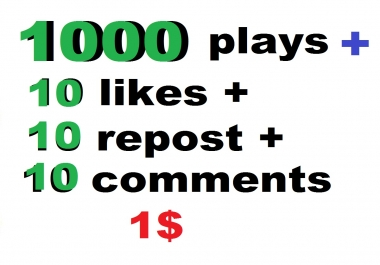 1000 soundcloud plays and 10 comments and 10 likes 10 repost  within 24 hour