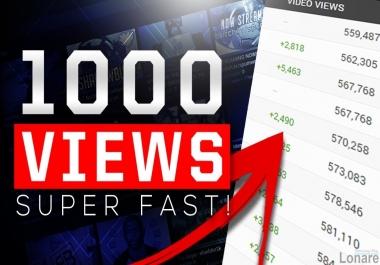 1000  YouTube Vie ws , REAL VIE WS , INSTANT START , HR And Desktop Vie ws