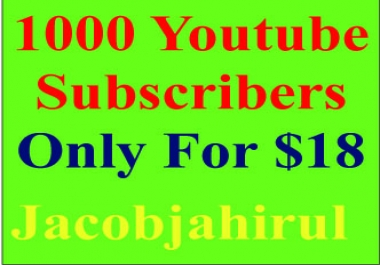 Provide You 1000+ High Quality Real & Active YouTube Subscribers