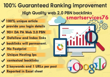 I will do 5 Web 2.0 Contextual PBN Backlinks with unique Content and you will see your ranking improvement Fast