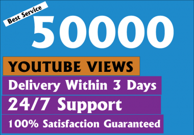 Give you Real High Retention 100000+ youtube views with bonus likes and comments