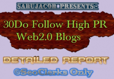 30 PR6 to PR9 Web2 Blogs with Image and excel report