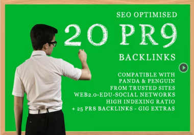 I will manually build 20 PR9 seo optimized High PR backlinks, Panda Penguin safe