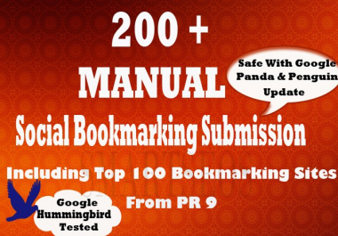 I will do Social bookmarking submission Manually to 200 sites Including Top 100 sites