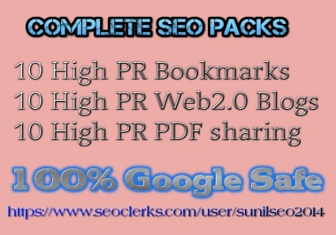 Mixed link building services 10 Bookmarks, web2 blog, 10 pdf sharing do follow high pr sites only