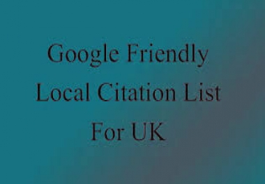 provide you with a highly relevant, local business friendly, Google rank boosting list of citation U