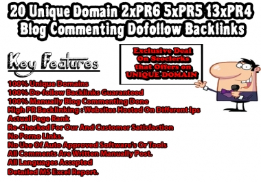20 Unique Domain 2xPR6 5xPR5 13xPR4 Blog Commenting Dofollow Backlinks