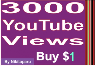 Instantly start 3000 Good retention YouTube views