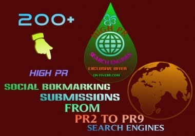 I will make Social bookmarking submission Manually to more than 200  sites Including Top 100 sites