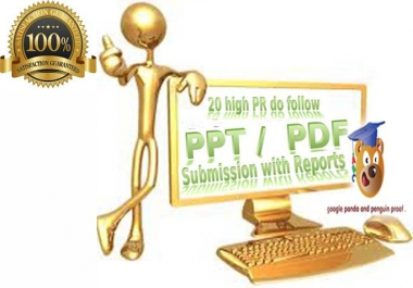 Manually submit your ppt, word or pdf file in 20 high PR sharing sites
