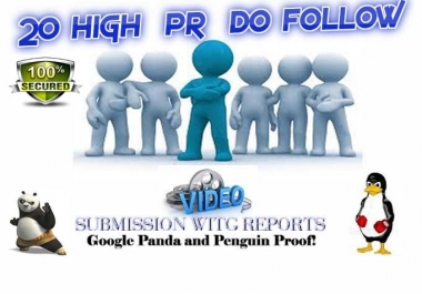 Manually submit your video in 20 most popular  high PR streaming sites