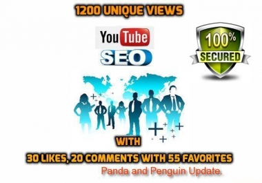 Provide 1200 Unique views with 30 likes, 20 comments and 55 favorites from YouTube seo.