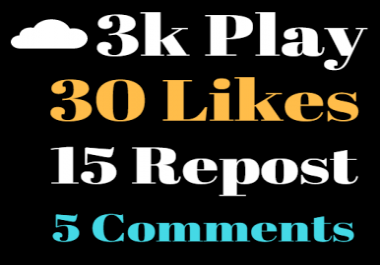 Get high retention Soundcloud USA 3,000 Play,Non-Drop 30 Likes 15 Repost 5 Comments within 24 hours