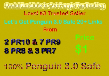 Safe 30 Social Profile Links DA50-DA100 to Page Rank 1