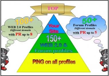I will do 150 Seo social Profiles PR up to 8