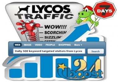 Daily keyword targeted visitors from Lycos for 7 days