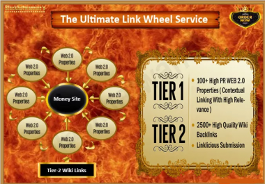 I will create Ultimate Link Wheel with over 100 Web Properties and 2500 Wiki Articles