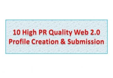 I will do 10 High PR Web 2.0 Profile Creation