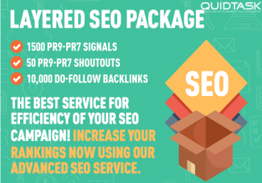 Layered SEO Package - 1500 PR9 Social Signals - 1000 Backlinks - 50 Shoutouts to 1 MILLION Audience