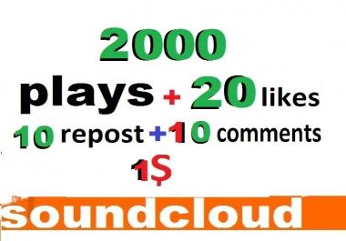2000 soundcloud plays 20 likes 10 comments 10 repost