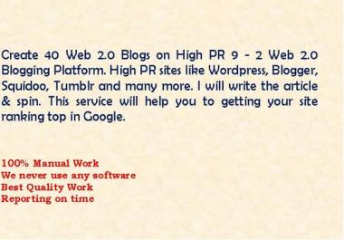 create 40 High PR 9 to 2 Web 2 Blogs