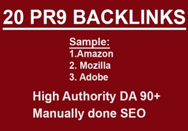 Get 20 High PR9 Dofollow Backlinks to rank your Website