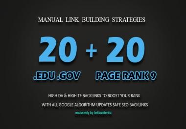 20 PR9 + 20 EDU GOV Backlinks From High Authority Domains
