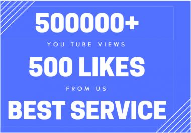 500k or 500000+ Safe & Non Drops YouTube Views with bonus likes