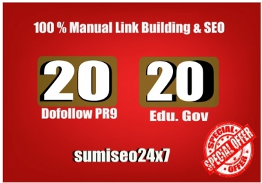 20 PR9 + 20 EDU GOV Backlinks From Authority Domains
