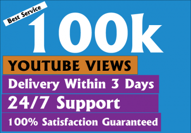 Cheapest safe 100k+ Non Drops You-tube V-iews  Within 3-5 Days