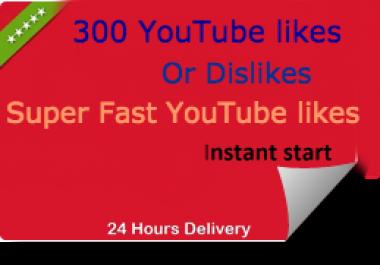 Instant 1000+ YouTube HQ li-kes or 200+ Disli-kes