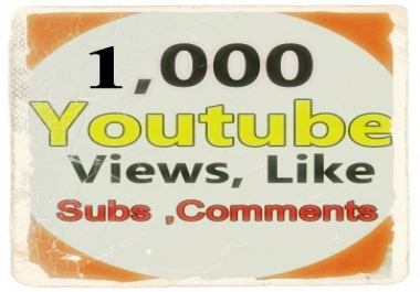 1,000  Youtube Views+ 50 Like +5 Subscriber +3 Comments Limited Time Offer