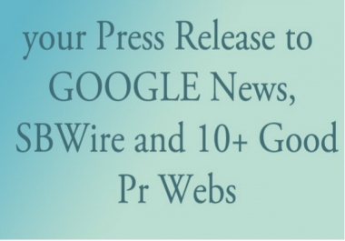 in 24 Hour Submit your Press Release to 20 Good Pr Webs