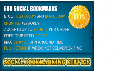create over 600 Social Bookmarks for your site, Best Social Bookmarking Service