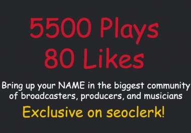 add 5500 Plays and 80 Likes SPREAKER Today