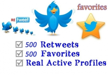 give you 500 Twitter Retweets, 500 Twitter Favorites by real people