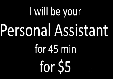 I will be your Personal Assistant for 45 min for