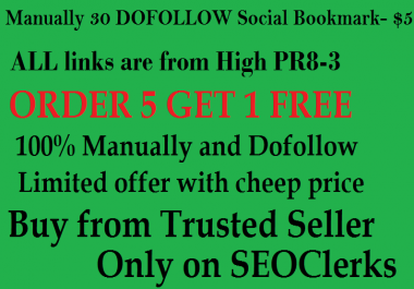 I will manualy do 20 High PR Social Bookmark for your website or blog or video links