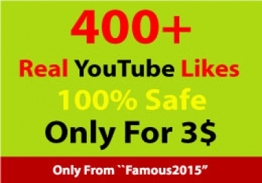 400+ YouTube likes within 24-72 hours