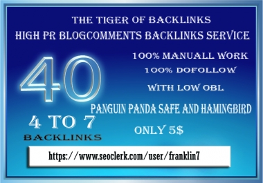 I will do manually 40 4to7blogcomments backlinks