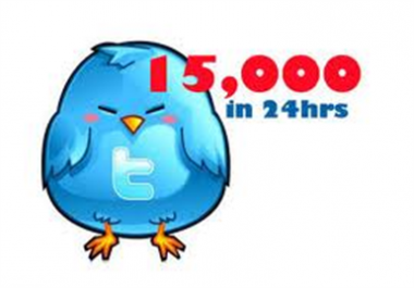 Best 15000+ Twitter Followers Will be Delivered to Your Twitter Account Just