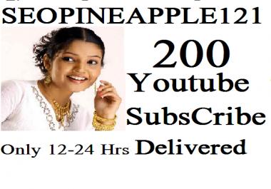 200+Youtube Subscribers  Non Drop Lifetime Guaranteed
