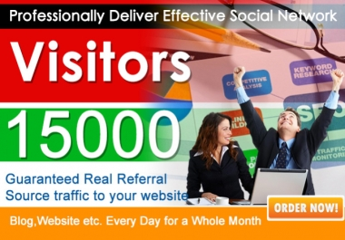 send 15000 Real Human Unique website traffic From Google,yahoo and all social media