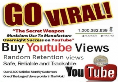 4200 Random Retention now 2-3 minute watch time you tube video views 5+ you tube likes
