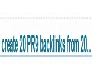 create 200 PR1 backlinks from 20 different PR 2 high authority sites including 11 bonus PR1 link, boost your rankings