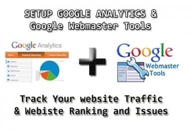 Professionally setup & config google analytics webmaster tools and sitemap
