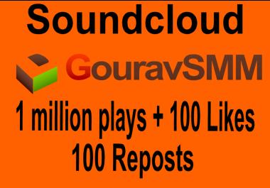 Soundcloud 1 Million Play + 100 Lik es + 100 Repo st
