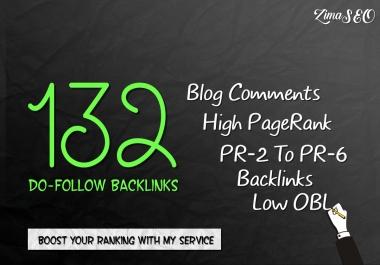 132 SEO blog comments backlinks pr2 to pr6